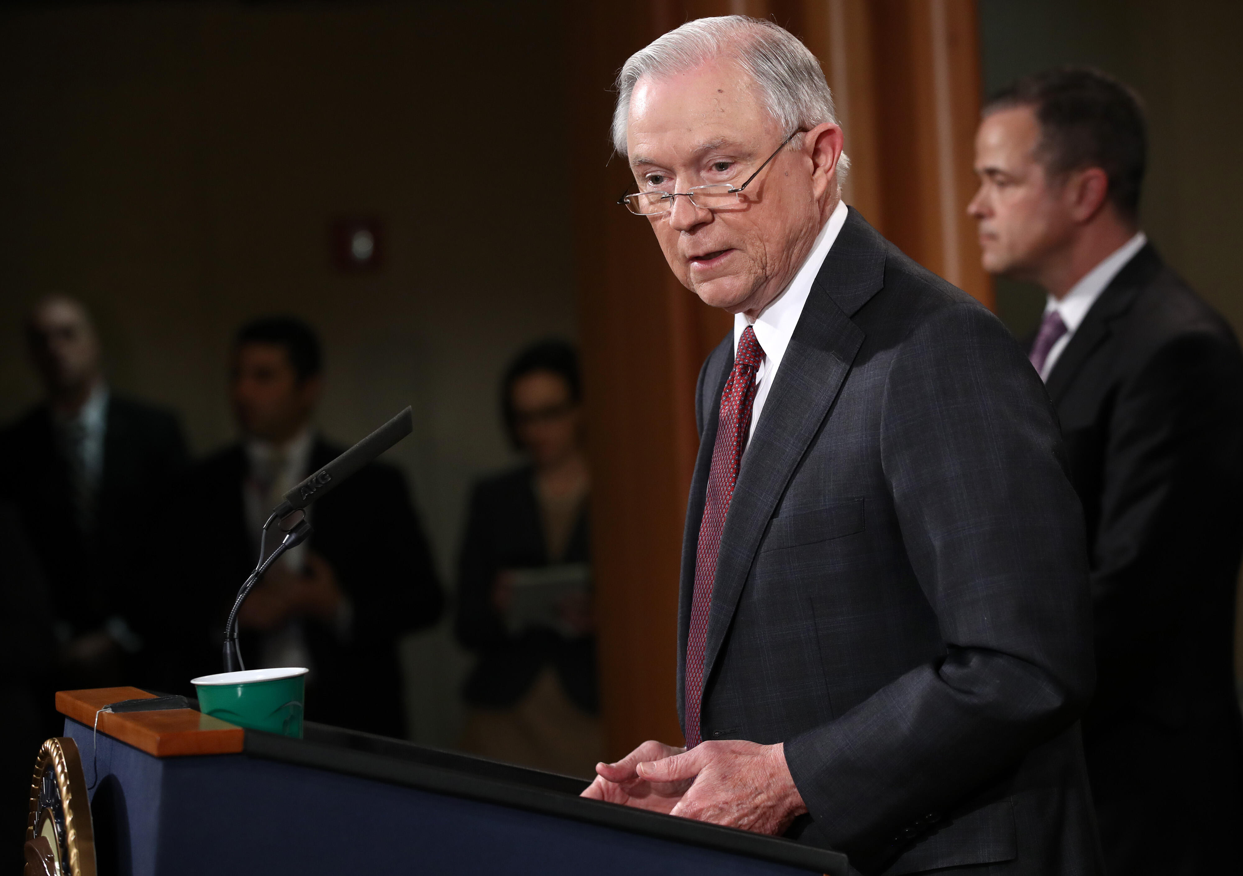 WASHINGTON, DC - MARCH 02:   U.S. Attorney General Jeff Sessions speaks during a press conference at  the Department of Justice on March 2, 2017 in Washington, DC.   Sessions addressed the calls for him to recuse himself from Russia investigations  after