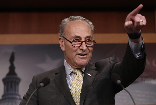 WASHINGTON, DC - MARCH 02:  Senate Democratic Leader Charles Schumer answers questions at the U.S. Capitol during a press conference on reports of U.S. Attorney General Jeff Sessions meeting with the Russian ambassador during the 2016 presidential campaign March 2, 2017 in Washington, DC.  Schumer called for the resignation of Sessions and the establishment of a special prosecutor to investigate alleged contact between the campaign of U.S. President Donald Trump and members of the Russian government.  (Photo by Win McNamee/Getty Images)