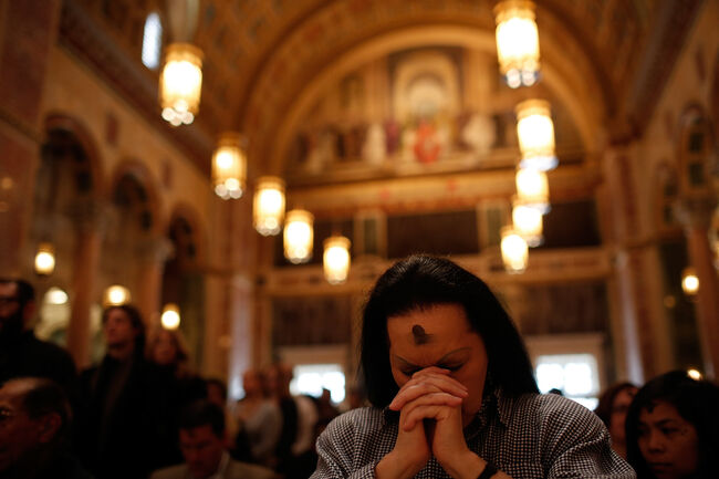 Archbishop of Washington Cardinal Wuerl Celebrates Ash Wednesday Mass At DC's Cathedral Of St. Matthew The Apostle