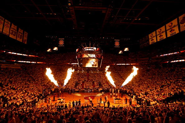 MIAMI, FL - MAY 26:  The Miami Heat are introduced prior to Game Four of the Eastern Conference Finals of the 2014 NBA Playoffs against the Indiana Pacers at American Airlines Arena on May 26, 2014 in Miami, Florida. NOTE TO USER: User expressly acknowled