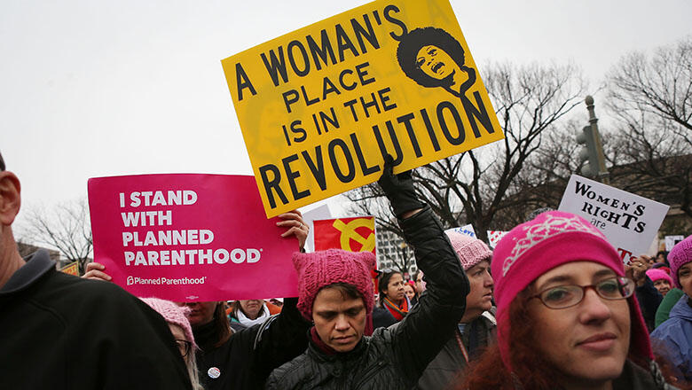 WASHINGTON, DC - JANUARY 21:  Protesters march during the Women's March on Washington on January 21, 2017 in Washington, DC. Large crowds are attending the anti-Trump rally a day after U.S. President Donald Trump was sworn in as the 45th U.S. president.