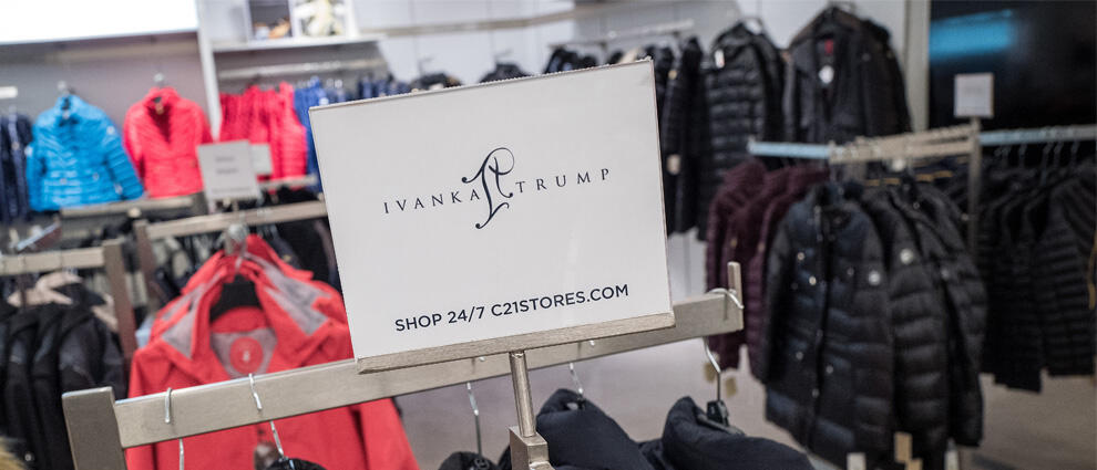 NEW YORK, NY - FEBRUARY 10: A sign for Ivanka Trump brand is displayed atop a rack of Ivanka Trump brand coats for sale at the Century 21 department store February 10, 2017 in New York City. According to a market research firm Slice Intelligence, Ivanka T