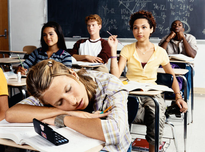 Teenage Girl Sleeps at Her Desk in a Classroom of Secondary School Students