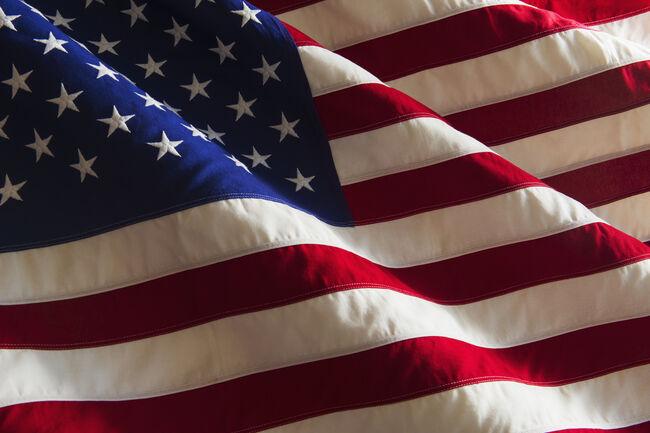 Detail of US flag, studio shot