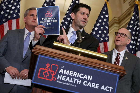 WASHINGTON, DC - MARCH 07:  Speaker of the House Paul Ryan (R-WI) (C) holds up a copy of the American Health Care Act during a news conference with House Majority Leader Kevin McCarthy (R-CA) (L) and House Energy and Commerce Committee Chairman Greg Walden (R-OR) outside Ryan's office in the U.S. Capitol March 7, 2017 in Washington, DC. The House Republican leadership's plan to repeal and replace Obamacare, the American Health Care Act is already facing opposition from conservatives in the House and Senate.  (Photo by Chip Somodevilla/Getty Images)