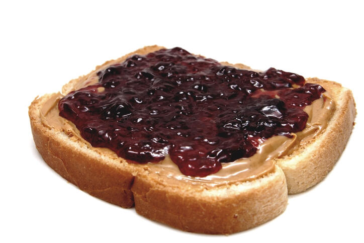 peanut butter & jelly sandwich and white blackground