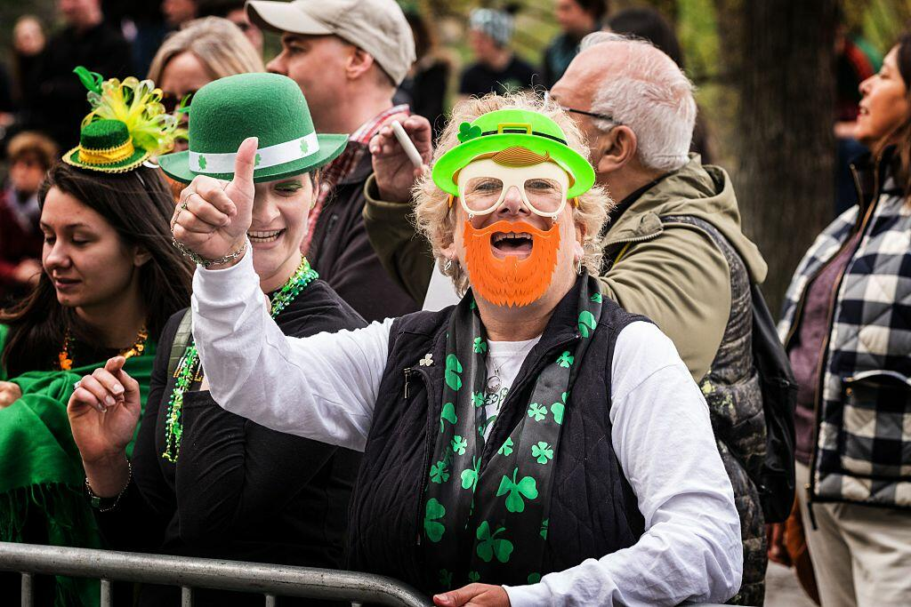 NEW YORK, NY - MARCH 17:  Attendees seen at the 255th annual St. Patrick's Day Parade along Fifth Avenue in New York City on March 17, 2016 in New York City.  (Photo by Larry Busacca/Getty Images)