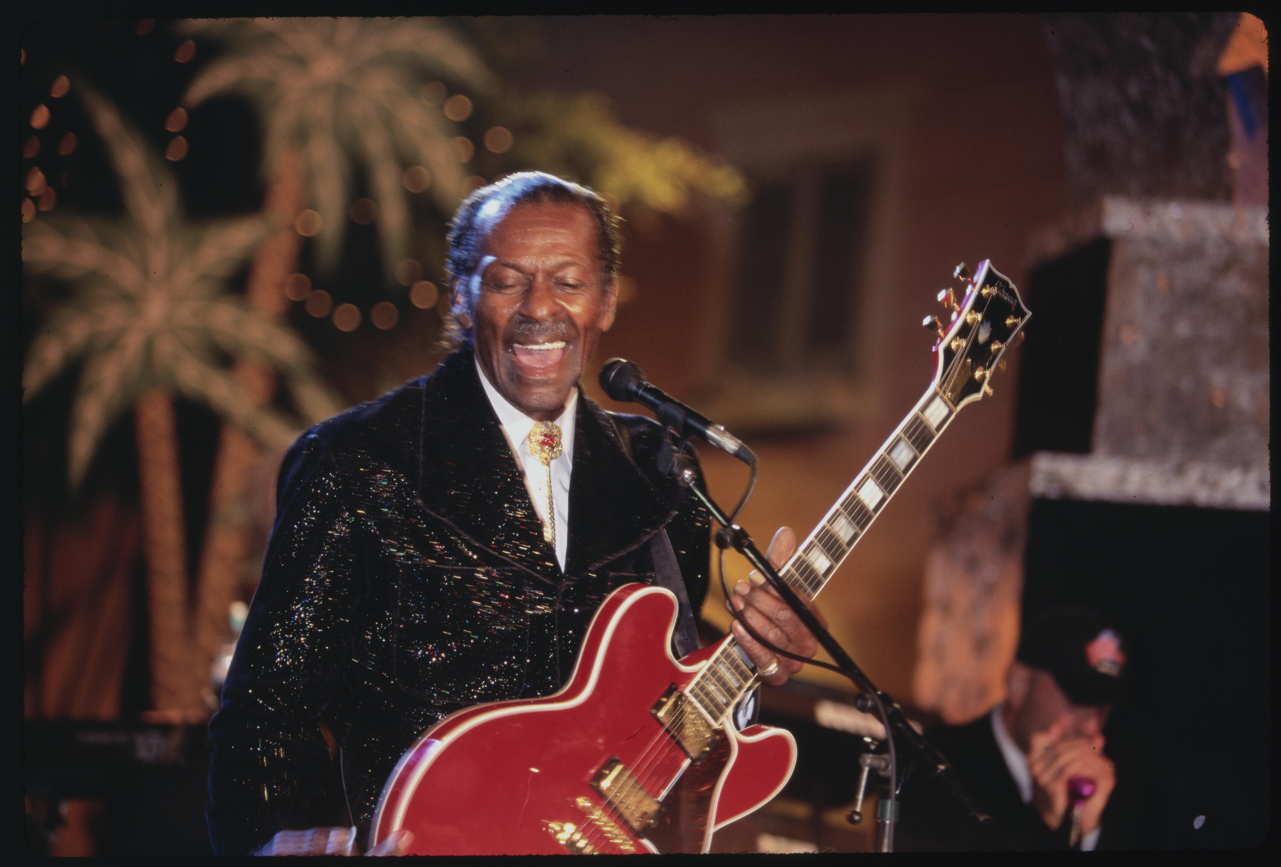 (Original Caption) Hollywood, California: Chuck Berry At Planet Hollywood Opening. (Photo by © Steve Starr/CORBIS/Corbis via Getty Images)
