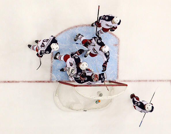 NEWARK, NJ - MARCH 19: Members of the Columbus Blue Jackets celebrate after defeating the New Jersey Devils 4-1 to clinch a playoff berth on March 19, 2017 at the Prudential Center in Newark, New Jersey. (Photo by Christopher Pasatieri/Getty Images)