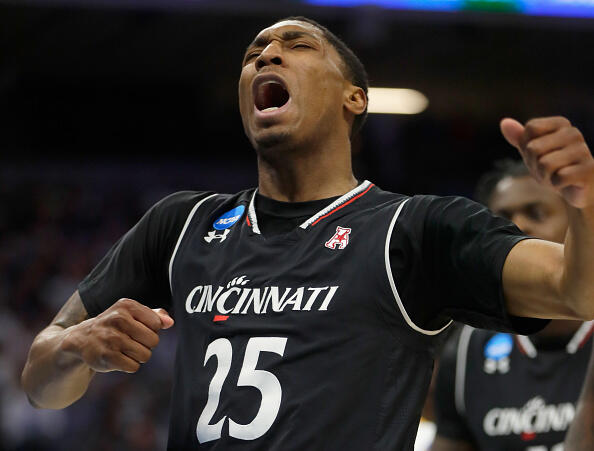 SACRAMENTO, CA - MARCH 19: Kevin Johnson #25 of the Cincinnati Bearcats reacts after a play against the UCLA Bruins during the second round of the 2017 NCAA Men's Basketball Tournament at Golden 1 Center on March 19, 2017 in Sacramento, California. (Photo by Jamie Squire/Getty Images)