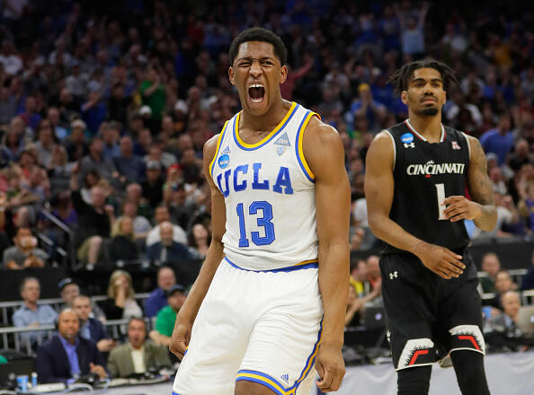 SACRAMENTO, CA - MARCH 19: Ike Anigbogu #13 of the UCLA Bruins reacts after a dunk against the Cincinnati Bearcats during the second round of the 2017 NCAA Men's Basketball Tournament at Golden 1 Center on March 19, 2017 in Sacramento, California. (Photo by Jamie Squire/Getty Images)