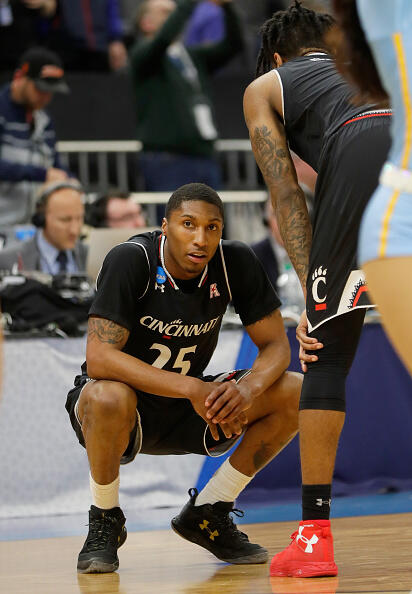 SACRAMENTO, CA - MARCH 19:  Kevin Johnson #25 of the Cincinnati Bearcats reacts after being defeated by the UCLA Bruins 79-67 during the second round of the 2017 NCAA Men's Basketball Tournament at Golden 1 Center on March 19, 2017 in Sacramento, California.  (Photo by Jamie Squire/Getty Images)
