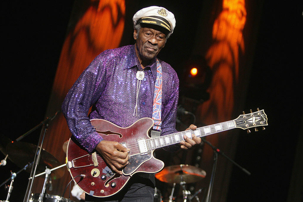 PARIS - NOVEMBER 14: Singer Chuck Berry performs at the 'Les Legendes Du Rock and Roll' concert at the Zenith on November 14, 2008 in Paris, France. (Photo by Francois Durand/Getty Images)