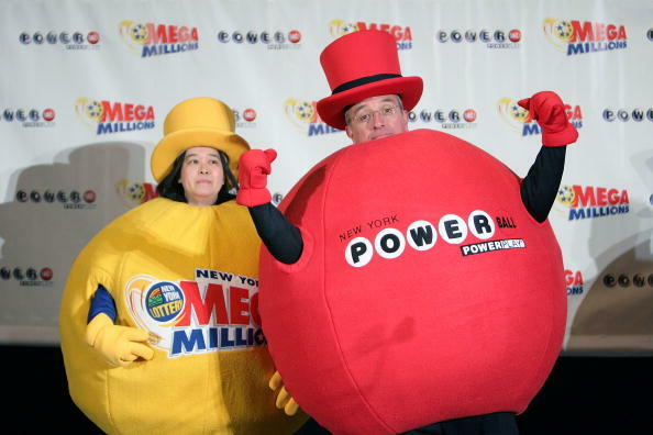 NEW YORK - FEBRUARY 01:  A general view of power ball costumes at the joining of Powerball & Mega Millions to create