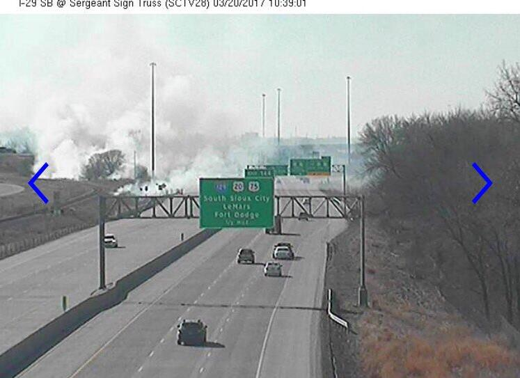 Grass Fire along I-29.  Photo by Sioux City Fire and Rescue