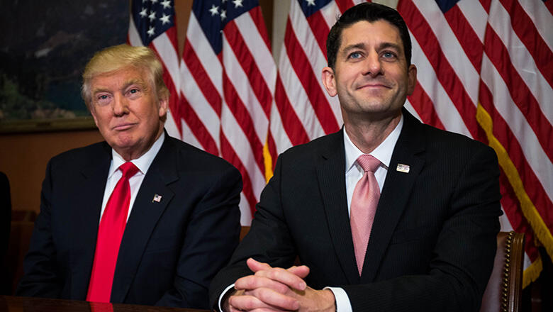 WASHINGTON, D.C. - NOVEMBER 10: President-elect Donald Trump meets with House Speaker Paul Ryan (R-WI) at the U.S. Capitol for a meeting November 10, 2016 in Washington, DC. Earlier in the day president-elect Trump met with U.S. President Barack Obama at