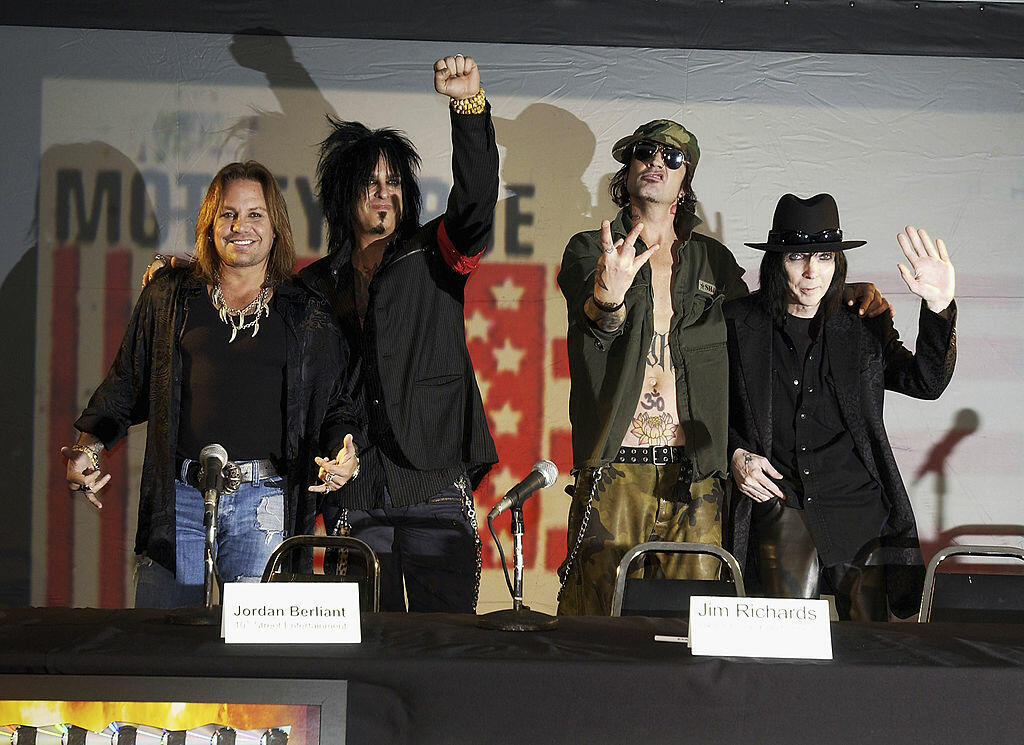LOS ANGELES - DECEMBER 6:  The original members of Motley Crue (L to R) Vince Neil, Nikki Sixx, Tommy Lee and Mick Mars reunite after six years to announce