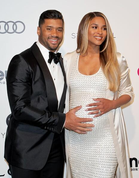 US football quarterback Russell Wilson and US singer Ciara Princess Wilson pose upon their arrival for the 25th annual Elton John AIDS Foundation's Academy Awards Viewing Party on February 26, 2017 in West Hollywood, California. / AFP / TIBRINA HOBSON        (Photo credit should read TIBRINA HOBSON/AFP/Getty Images)