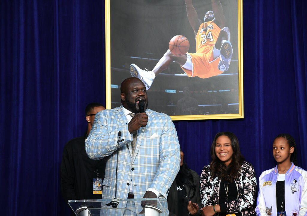 LOS ANGELES, CA - MARCH 24: Former Los Angeles Lakers player Shaquille O'Neal speaks after unveiling of his statue while his children look on at Staples Center March 24, 2017, in Los Angeles, California. NOTE TO USER: User expressly acknowledges and agrees that, by downloading and or using this photograph, User is consenting to the terms and conditions of the Getty Images License Agreement. (Photo by Kevork Djansezian/Getty Images)