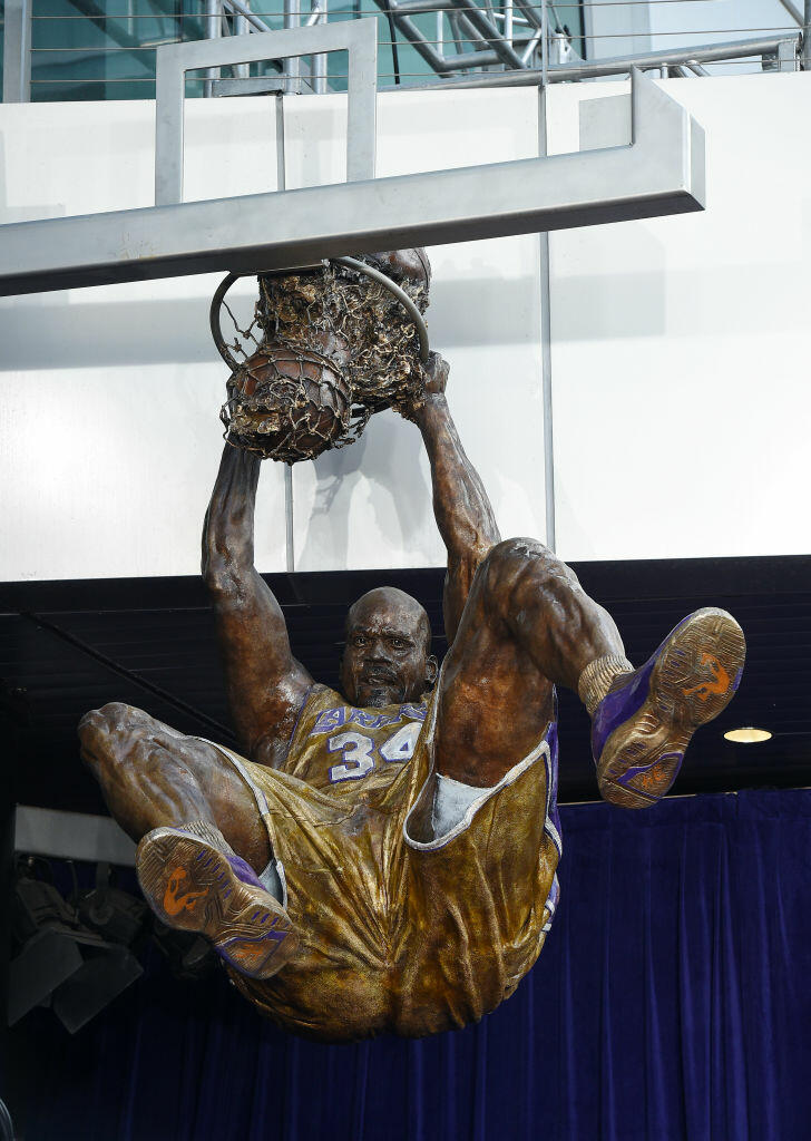 LOS ANGELES, CA - MARCH 24: Former Los Angeles Lakers Shaquille O'Neal's seen after it was unveiled at Staples Center March 24, 2017, in Los Angeles, California. NOTE TO USER: User expressly acknowledges and agrees that, by downloading and or using this photograph, User is consenting to the terms and conditions of the Getty Images License Agreement. (Photo by Kevork Djansezian/Getty Images)