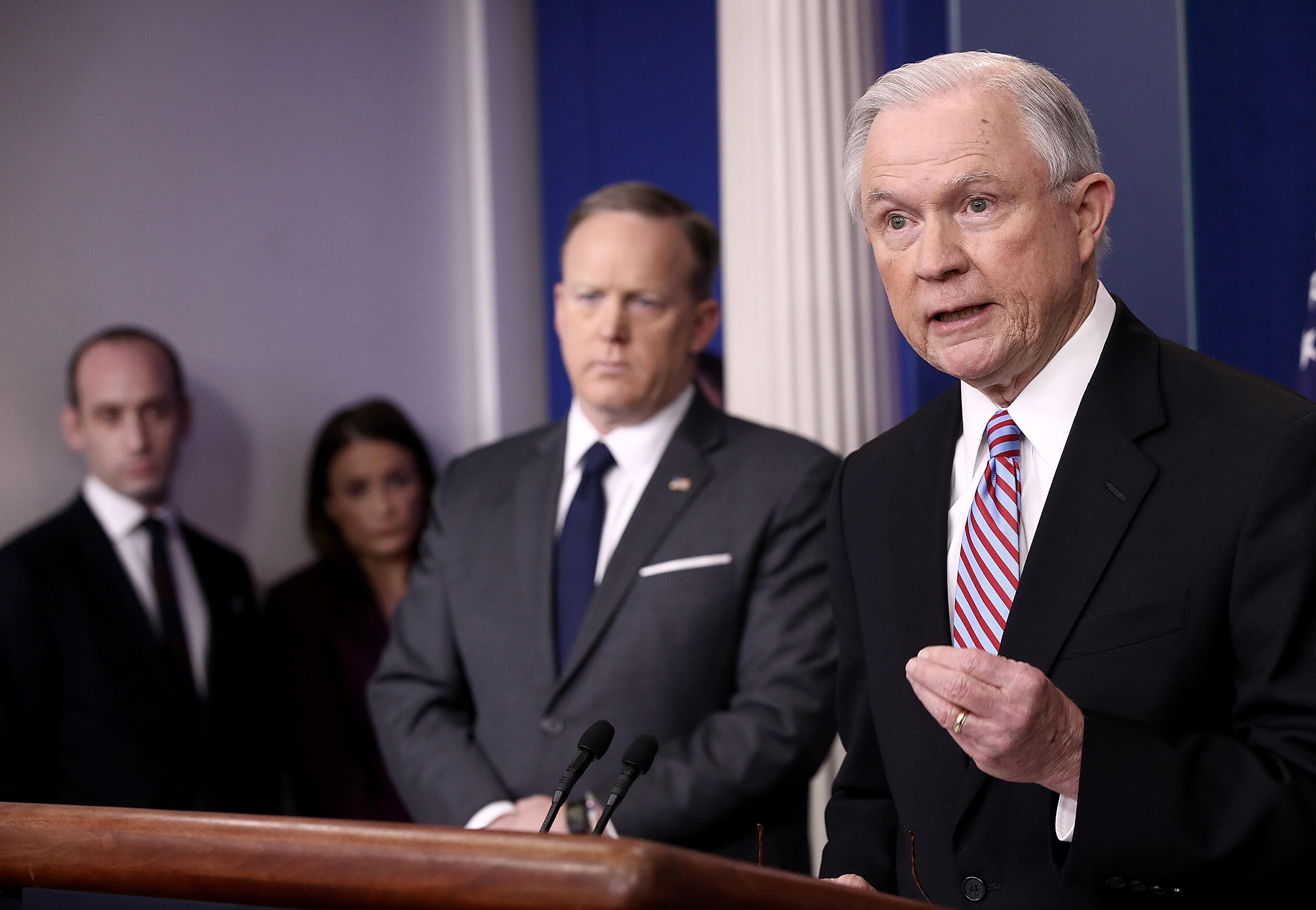 WASHINGTON, DC - MARCH 27:  U.S. Attorney General Jeff Sessions (R) delivers remarks during the daily White House press briefing March 27, 2017 in Washington, DC. Sessions announced new actions against sanctuary cities that seek Justice Department grants