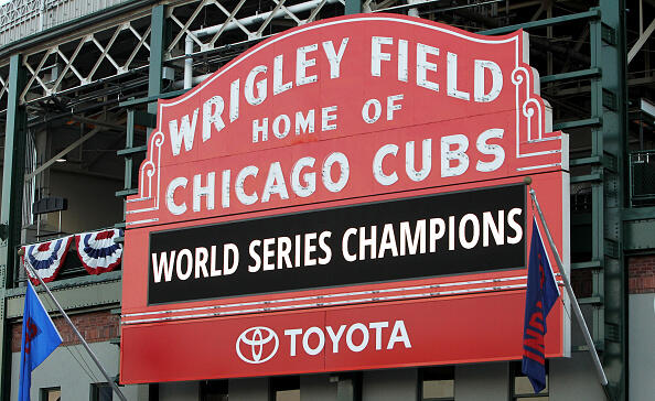 CHICAGO, IL - NOVEMBER 04:  The Wrigley Field marquee displays