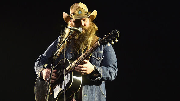 LOS ANGELES, CA - FEBRUARY 14:  Musician Chris Stapleton performs onstage during Lucian Grainge's 2016 Artist Showcase Presented by American Airlines and Citi at The Theatre at Ace Hotel Downtown LA on February 14, 2016 in Los Angeles, California.  (Photo