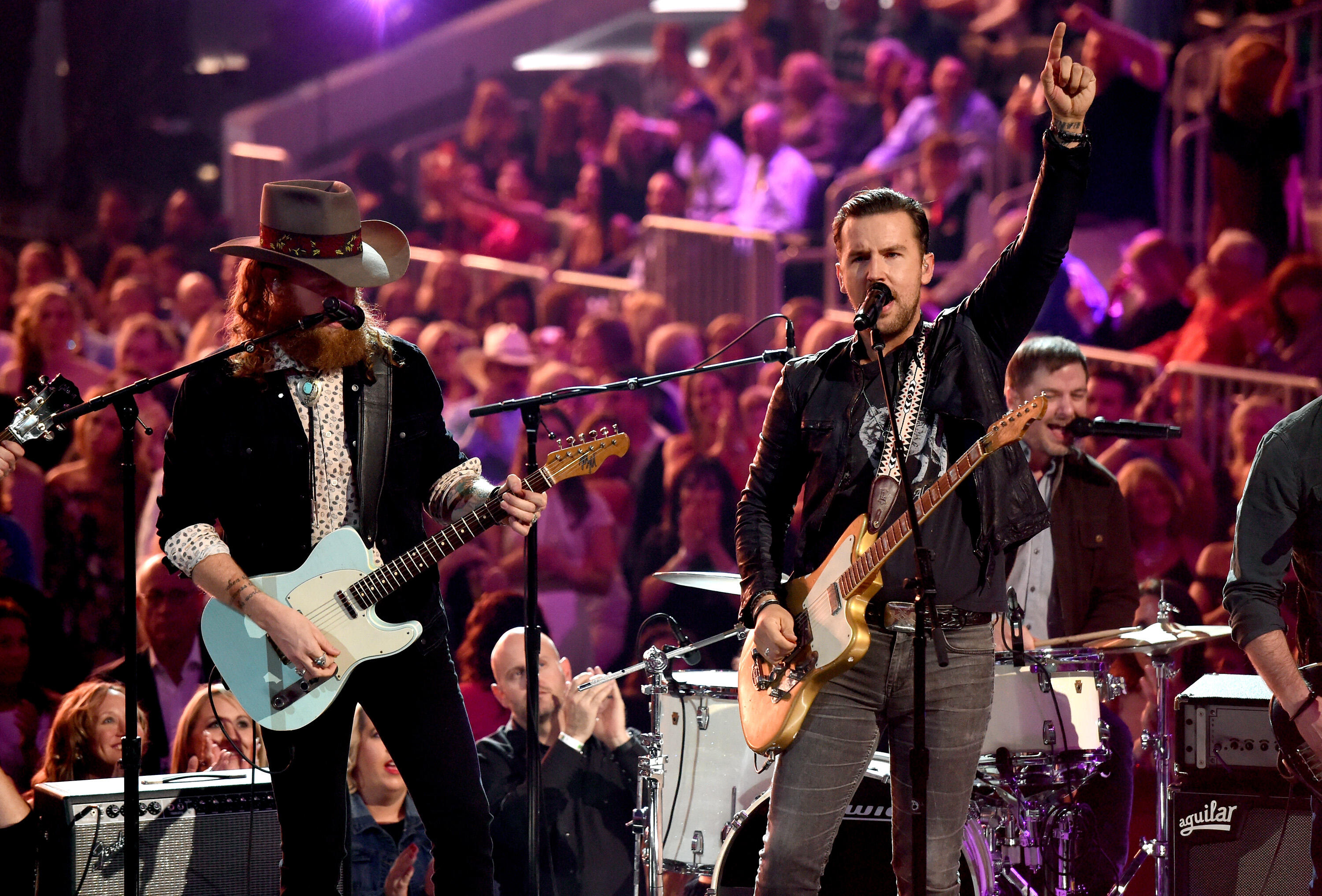 LAS VEGAS, NV - APRIL 02:  Musicians John Osborne (L) and T.J. Osborne of the music group Brothers Osborne perform onstage during the 52nd Academy Of Country Music Awards at T-Mobile Arena on April 2, 2017 in Las Vegas, Nevada.  (Photo by Ethan Miller/Get