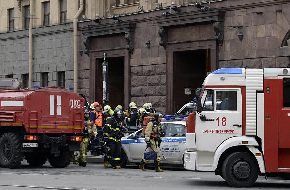 Emergency services personnel walk at the entrance to Technological Institute metro station in Saint Petersburg on April 3, 2017. Around 10 people were feared dead and dozens injured Monday after an explosion rocked the metro system in Russia's second city Saint Petersburg, according to authorities, who were not ruling out a terror attack. / AFP PHOTO / Olga MALTSEVA        (Photo credit should read OLGA MALTSEVA/AFP/Getty Images)