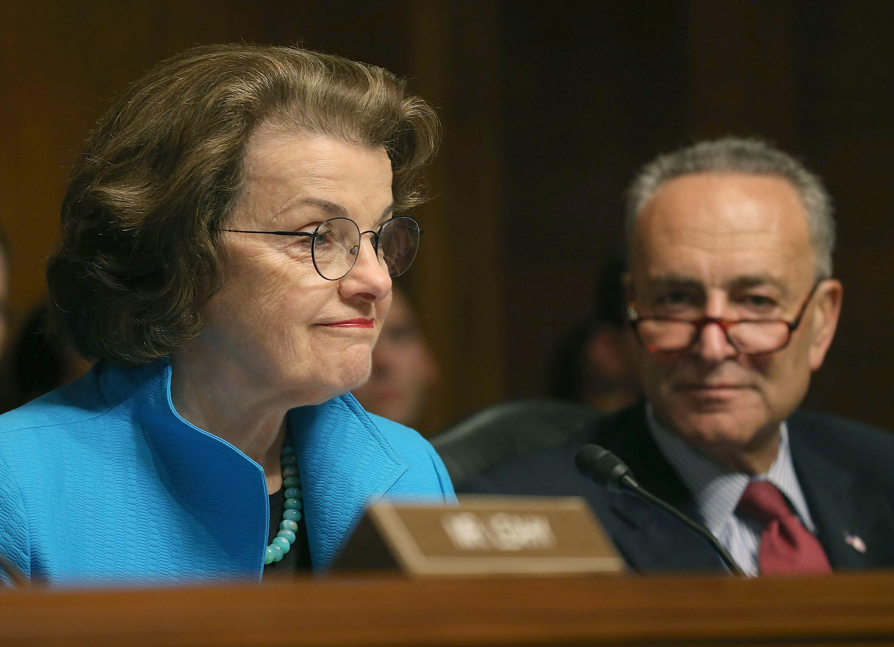 WASHINGTON, DC - JULY 08: Sen. Dianne Feinstein (D-CA) (L) and Sen. Chuck Schumer (D-NY) participate in a Senate Judiciary Committee hearing on Capitol Hill, July 8, 2015 in Washington, DC. The committee was hearing testimony on encryption technology, and