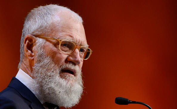 WASHINGTON, DC - NOVEMBER 17:  David Letterman speaks and shows a video he made earlier in the day with children from The Lab School during The Lab School Of Washington 32nd Anniversary Gala Fundraiser at National Building Museum on November 17, 2016 in Washington, DC.  (Photo by Leigh Vogel/Getty Images)