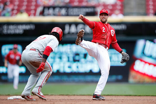 CINCINNATI, OH - APRIL 06: Zack Cozart #2 of the Cincinnati Reds reacts after turning a double play in the fifth inning of the game against the Philadelphia Phillies at Great American Ball Park on April 6, 2017 in Cincinnati, Ohio. The Reds defeated the Phillies 7-4. (Photo by Joe Robbins/Getty Images)