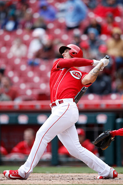 CINCINNATI, OH - APRIL 06: Michael Lorenzen #21 of the Cincinnati Reds hits a solo home run to break a tie in the sixth inning of the game against the Philadelphia Phillies at Great American Ball Park on April 6, 2017 in Cincinnati, Ohio. (Photo by Joe Robbins/Getty Images)