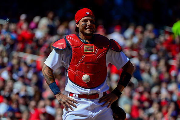 ST LOUIS, MO - APRIL 06: Yadier Molina #4 of the St. Louis Cardinals looks on after the ball got stuck to his chest protector allowing Matt Szczur #20 of the Chicago Cubs to advance to first after a swinging third strike during the seventh inning at Busch Stadium on April 6, 2017 in St Louis, Missouri. (Photo by Jeff Curry/Getty Images)