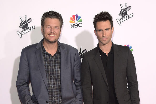UNIVERSAL CITY, CA - NOVEMBER 24:  Singers Blake Shelton and Adam Levine attend NBC's