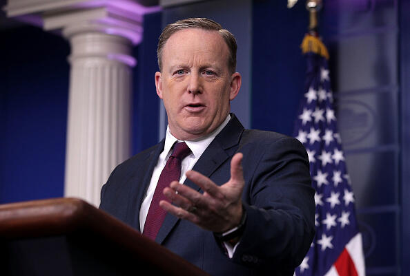 WASHINGTON, DC - MARCH 24:  White House Press Secretary Sean Spicer conducts a daily press briefing at the James Brady Press Room of the White House March 24, 2017 in Washington, DC. Spicer held the daily briefing to answer questions from members of the White House Press Corps.  (Photo by Alex Wong/Getty Images)