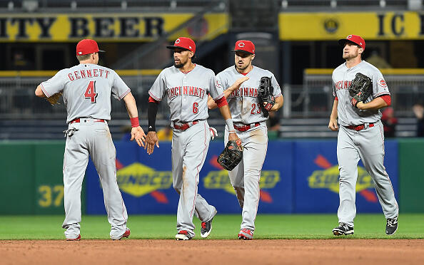 PITTSBURGH, PA - APRIL 11: Members of the Cincinnati Reds celebrate after the final out in their 6-2 win over the Pittsburgh Pirates at PNC Park on April 11, 2017 in Pittsburgh, Pennsylvania. (Photo by Justin Berl/Getty Images)