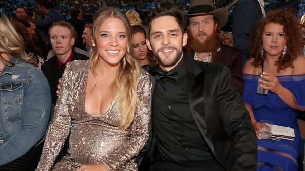 LAS VEGAS, NV - APRIL 02:  Singer Thomas Rhett (R) and Lauren Gregory Akins attend the 52nd Academy Of Country Music Awards at T-Mobile Arena on April 2, 2017 in Las Vegas, Nevada.  (Photo by Chris Polk/ACMA2017/Getty Images for ACM)