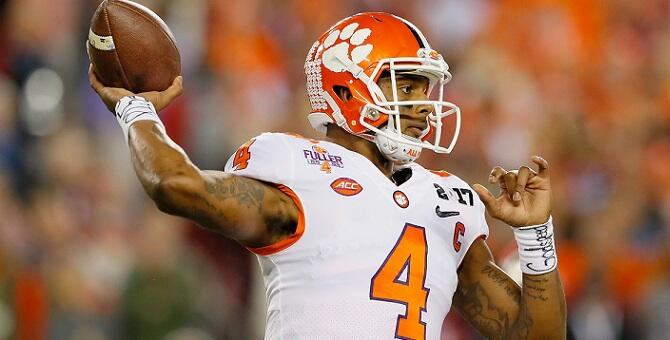 TAMPA, FL - JANUARY 09:  Quarterback Deshaun Watson #4 of the Clemson Tigers throws a pass during the first half against the Alabama Crimson Tide in the 2017 College Football Playoff National Championship Game at Raymond James Stadium on January 9, 2017 i