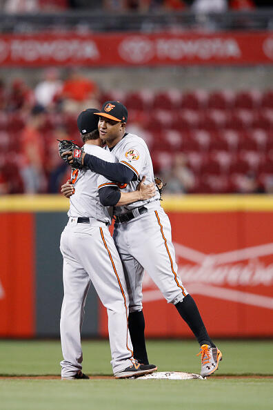 CINCINNATI, OH - APRIL 19: Jonathan Schoop #6 and J.J. Hardy #2 of the Baltimore Orioles celebrate following the final out in the ninth inning of the game against the Cincinnati Reds at Great American Ball Park on April 19, 2017 in Cincinnati, Ohio. The Orioles defeated the Reds 2-0. (Photo by Joe Robbins/Getty Images)