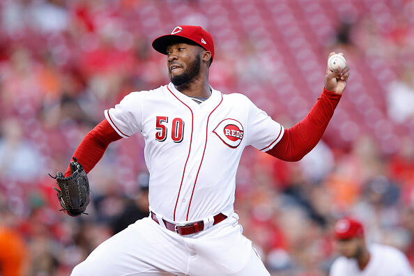 CINCINNATI, OH - APRIL 19: Amir Garrett #50 of the Cincinnati Reds pitches in the second inning of the game against the Baltimore Orioles at Great American Ball Park on April 19, 2017 in Cincinnati, Ohio. (Photo by Joe Robbins/Getty Images)