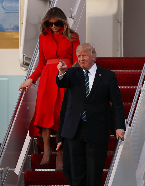 WEST PALM BEACH, FL - MARCH 17:  President Donald Trump his wife Melania Trump arrive together on Air Force One at the Palm Beach International Airport to spend part of the weekend at Mar-a-Lago resort on March 17, 2017 in West Palm Beach, Florida. President Trump has made numerous trips to his Florida home since the inauguration.  (Photo by Joe Raedle/Getty Images)