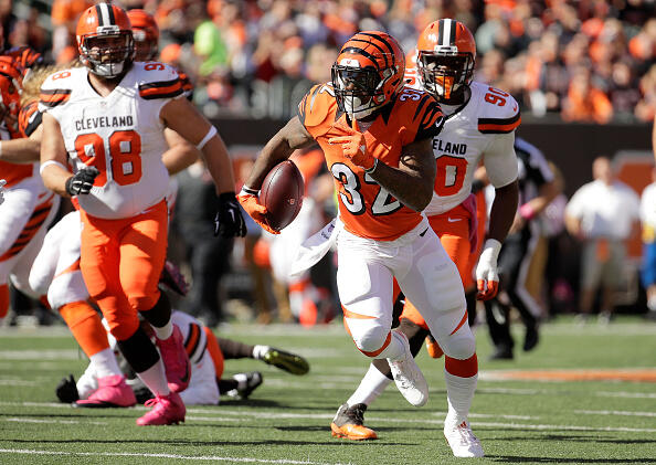 CINCINNATI, OH - OCTOBER 23: Jeremy Hill #32 of the Cincinnati Bengals carries the ball during the first quarter of the game against the Cleveland Browns at Paul Brown Stadium on October 23, 2016 in Cincinnati, Ohio. (Photo by Andy Lyons/Getty Images)