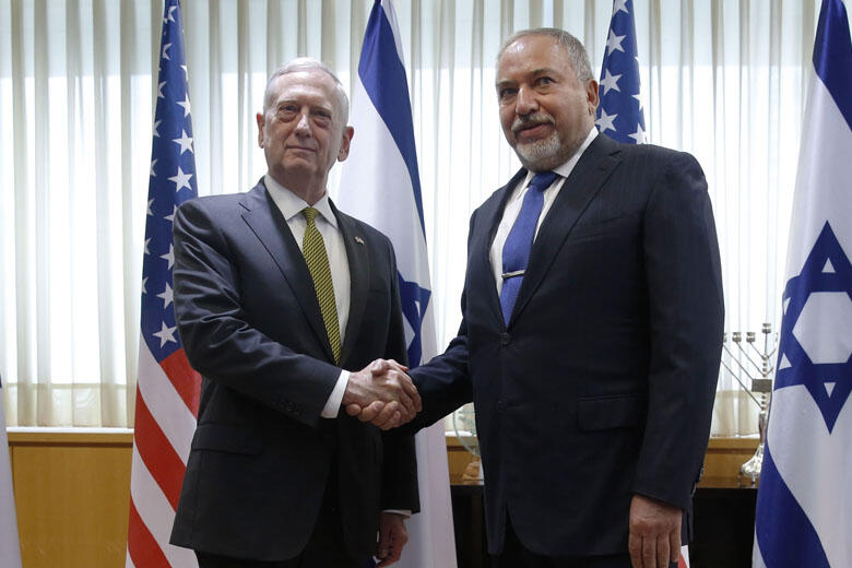 Israel's Minister of Defense Avigdor Lieberman And U.S. Defense Secretary James Mattis Hold Joint News Conference
