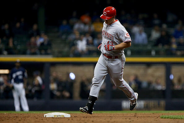 MILWAUKEE, WI - APRIL 24:  Scott Schebler #43 of the Cincinnati Reds rounds the bases after hitting a home run in the third inning against the Milwaukee Brewers at Miller Park on April 24, 2017 in Milwaukee, Wisconsin. (Photo by Dylan Buell/Getty Images)