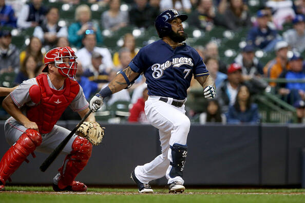 MILWAUKEE, WI - APRIL 24:  Eric Thames #7 of the Milwaukee Brewers hits a home run in the first inning against the Cincinnati Reds at Miller Park on April 24, 2017 in Milwaukee, Wisconsin. (Photo by Dylan Buell/Getty Images)