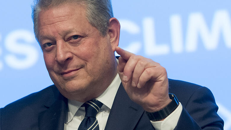 Former US Vice President Al Gore speaks during a panel discussion about climate change,
