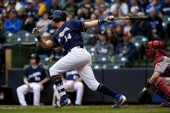 MILWAUKEE, WI - APRIL 25:  Hernan Perez #14 of the Milwaukee Brewers hits a triple in the second inning against the Cincinnati Reds at Miller Park on April 25, 2017 in Milwaukee, Wisconsin. (Photo by Dylan Buell/Getty Images)