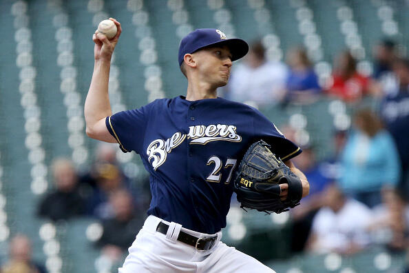 MILWAUKEE, WI - APRIL 25:  Zach Davies #27 of the Milwaukee Brewers pitches in the first inning against the Cincinnati Reds at Miller Park on April 25, 2017 in Milwaukee, Wisconsin. (Photo by Dylan Buell/Getty Images)