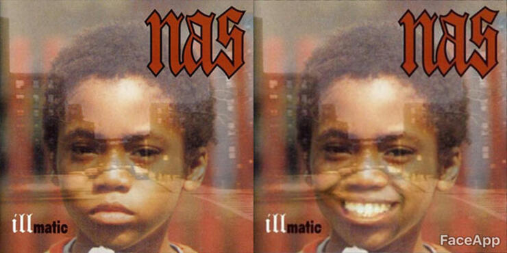 20 Iconic Hip Hop Album Covers With Smiles Using FaceApp